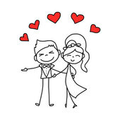 Hand drawing cartoon character lovers wedding — Stok Vektör