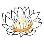 Hand drawing water lily, lotus, flower — Vecteur
