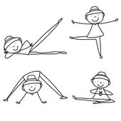 Cartoon hand drawing woman practicing yoga — Wektor stockowy