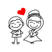 Hand drawing cartoon character lovers wedding — Vector de stock