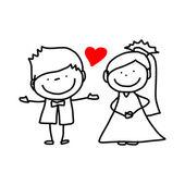 Hand drawing cartoon character lovers wedding — Stock Vector
