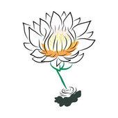 рука рисунок водяной лилии, лотос, цветок — Cтоковый вектор