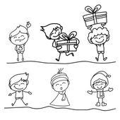 手绘图卡通快乐的孩子 — 图库矢量图片