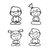 Hand drawing cartoon happy people — Stock Vector