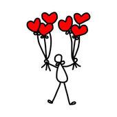 Cartoon hand-drawn love — Stock Vector