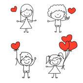Dessin animé ensemble dessinés à la main des enfants heureux et aimer les personnages — Vecteur