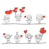 Cartoon hand-drawn set of happy kids and love characters — 图库矢量图片