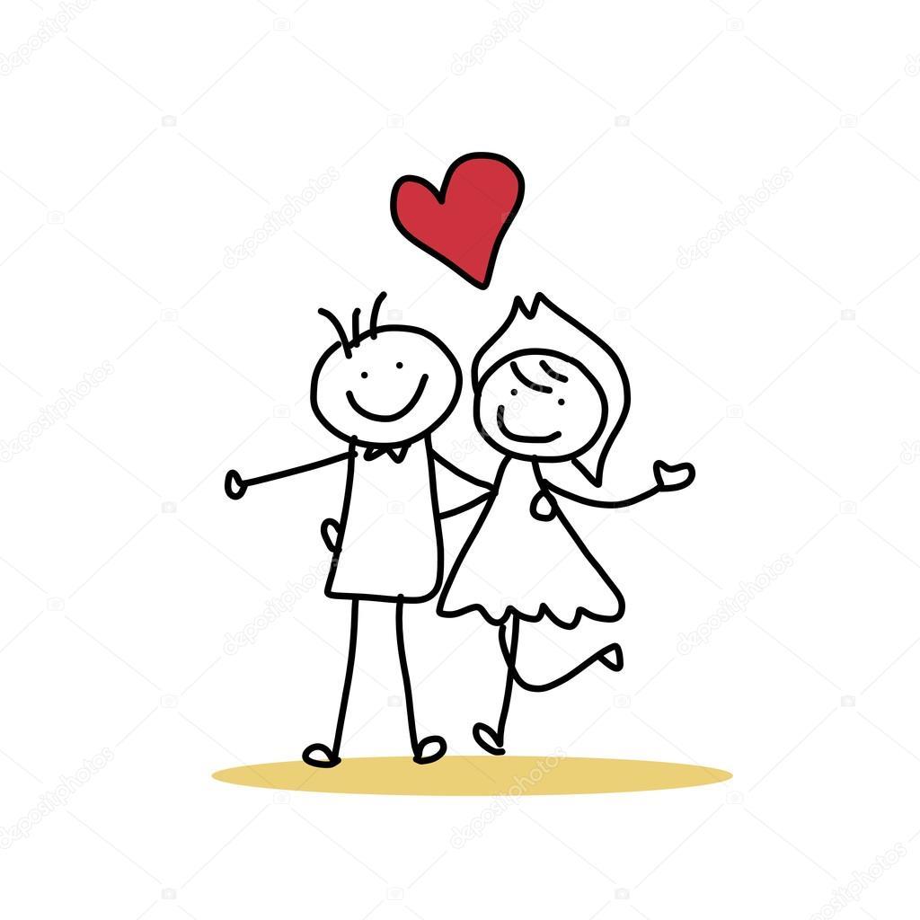 Hand Drawing Cartoon Of Happy Wedding Couple Stock Vector
