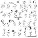 Hand drawing cartoon alphabet — Stock Vector #43813839