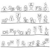 Hand drawing cartoon alphabet — Stock Vector