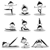 Hand drawing girls doing yoga — Stock Vector