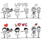Cartoon happy wedding — Stock Vector