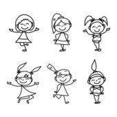 мультфильм счастливые дети — Cтоковый вектор