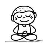 Happy kid mediation — Stock Vector