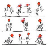 Hand drawing cartoon love character — Stock Vector