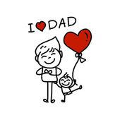 Gelukkig vaders dag cartoon hand tekenen — Vecteur