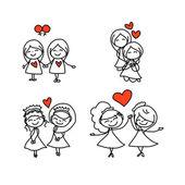 手绘漫画幸福的新婚夫妇的婚礼 — 图库矢量图片