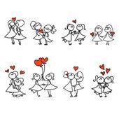 Hand drawing cartoon happy couple wedding — Stock Vector