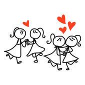 Cartoon same sex couple wedding — Stock Vector