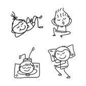 Hand drawing cartoon happy kids — Stock Vector