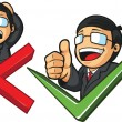 Businessman with Check Mark & Thumb Up or Cross & Frustration — Stockvectorbeeld