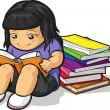 Royalty-Free Stock Vector Image: Cartoon of Girl Student Studying & Reading Book