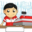 Royalty-Free Stock Vector Image: Cashier Employee with Friendly Smile