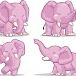 Elephant in Several Poses - Standing, Dancing & Raising Its Trunk — Stock Vector
