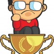 Stock Vector: Kid Making Success Fist on Achievement Trophy