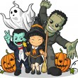 Witch, Vampire, Frankenstein, Ghost & Pumpkin Greeting Halloween — Stock vektor