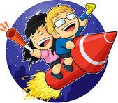 Cartoon of Boy & Girl Riding New Year Firework — Stock Vector