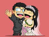 Cartoon of Happy Wedding Bride & Groom — Stock Vector