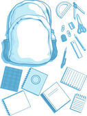 Customizable Vector Kits of School Bag and School Supplies — Stock Vector