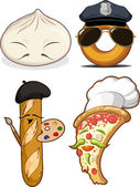Food Set - Chinese Bun, French Bread, Pizza Chef & Police Doughnut — Vettoriale Stock