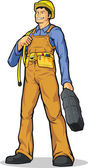 Industrial Construction Worker with Rope & Tool Box — ストックベクタ