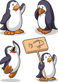Penguin in Several Poses - Happy, Sad, Jumping & Holding Sign — Stock Vector
