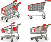 Shopping Cart or Trolley from Several Positions — Stock Vector