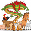 All 12 Chinese Zodiac Animals Together — Stock Vector