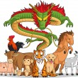All 12 Chinese Zodiac Animals Together — Stock Vector #23151412