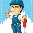 Cartoon of Technician or Repairman — Stock Vector