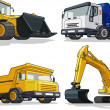 Construction Machine - Bulldozer, Cement Truck, Haul truck & Excavator — Stock Vector