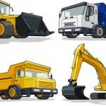 Construction Machine - Bulldozer, Cement Truck, Haul truck & Excavator — Stock Vector #23151806