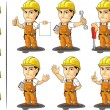 Industrial Construction Worker Mascot 2 — Stock Vector