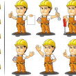 Stock Vector: Industrial Construction Worker Mascot 2