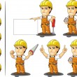 Stock Vector: Industrial Construction Worker Mascot 3