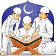 Kids Learn to Read Al-Quran with Their Parent — Stock Vector