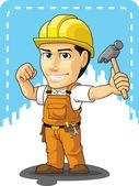 Cartoon of Industrial Construction Worker — Stock Vector