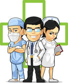 Health Care or Medical Staff Doctor, Nurse, & Surgeon — Stockvector
