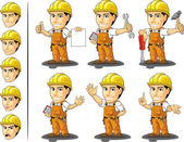 Industrial Construction Worker Mascot 2 — Stok Vektör
