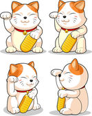 Lucky Cat (Makeni Neko) from Several Positions — Vector de stock